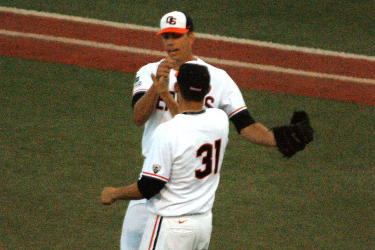 Matt Boyd, who allowed 3 hits in 8 1/2 innings, was the first Beaver to celebrate with Tony Bryant, who finished the game, as the Killer Bs teamed up to sting the Bears Friday night.