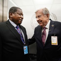President M. Russell Ballard, right, acting president of the Quorum of the Twelve Apostles of The Church of Jesus Christ of Latter-day Saints, talks with Jerobeam Shaanika, Deputy Chief de Cabinet, office of the President of the General Assembly of the United Nations 74th Session in New York City on Friday, Nov. 15, 2019.