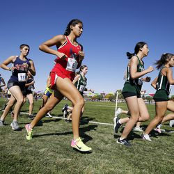 Runners start the 2A girls high school state cross-country championship race in Cedar City on Wednesday, Oct. 21, 2020.