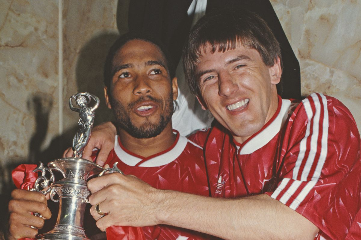 John Barnes and Peter Beardsley with First Division Trophy 1990