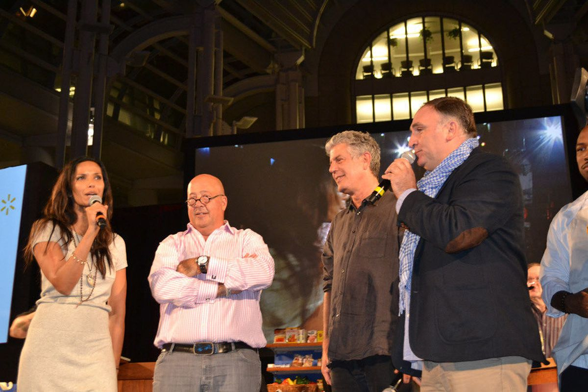 Judges Padma Lakshi and Andrew Zimmern with hosts Anthony Bourdain and José Andrés