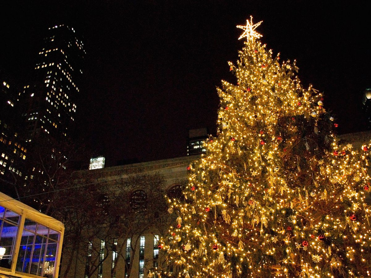 The Bank of America Winter Village Christmas tree at Bryant Park. The tree is decorated in lights and surrounded by holiday market stalls.