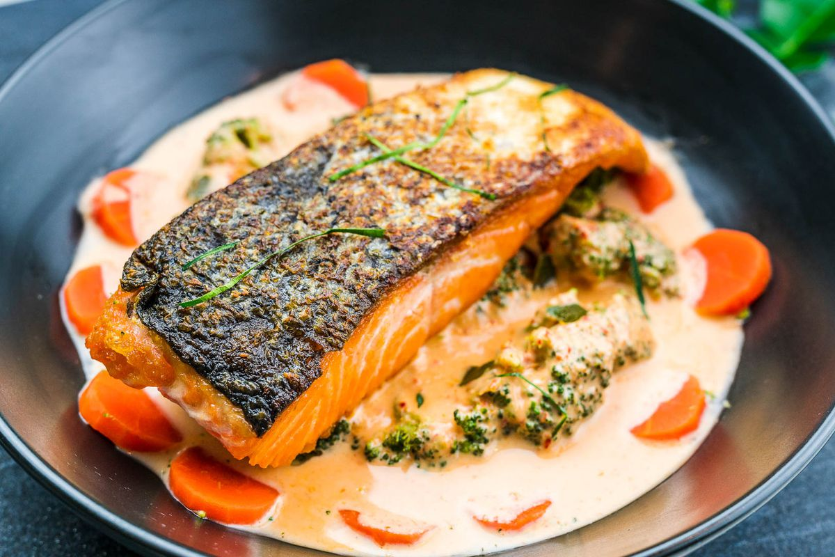 The panang salmon from Spoon + Fork