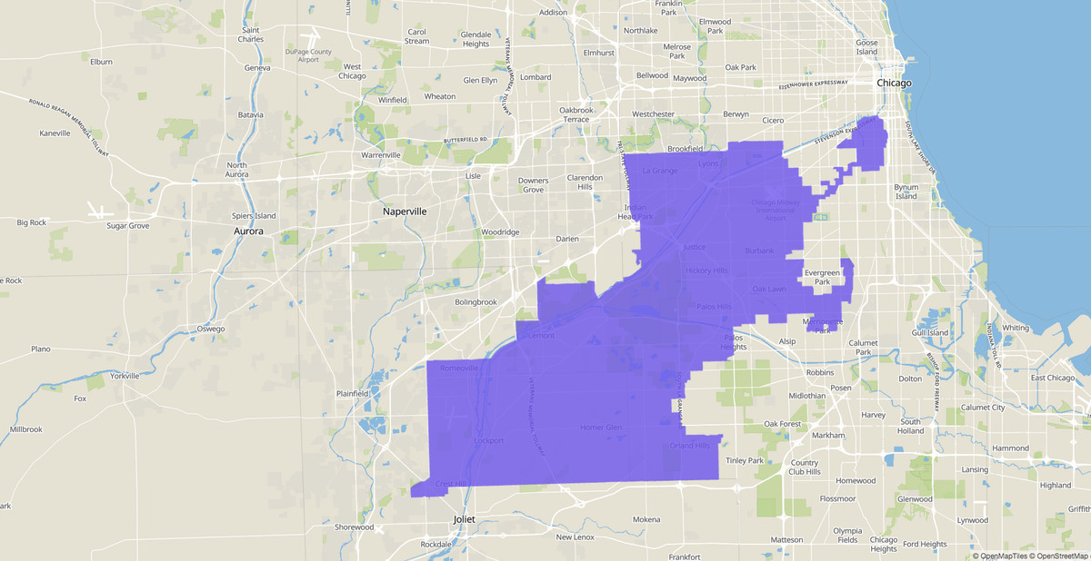 3rd Congressional District map, U.S. House of Representatives, Illinois