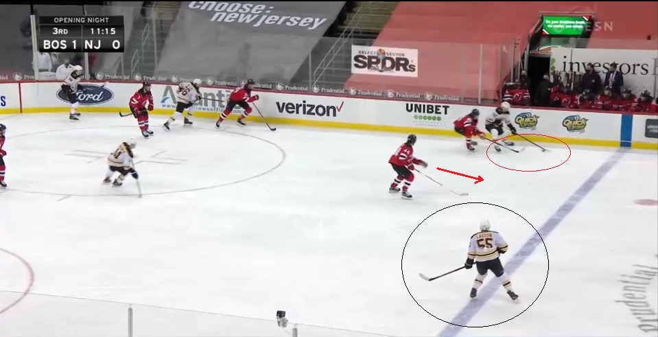 Part 6: Hughes gets his stick in Kuraly's way, forcing him back and making a pass to Lauzon harder.  Also, Miles Wood is lurking.