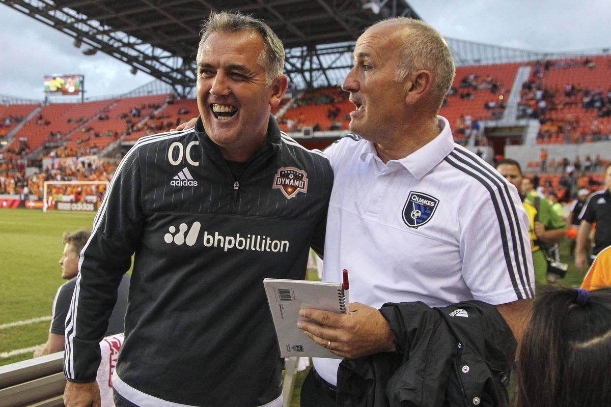 Coyle and Kinnear, the only two managers Houston has ever know share a laugh when their sides met earlier this week