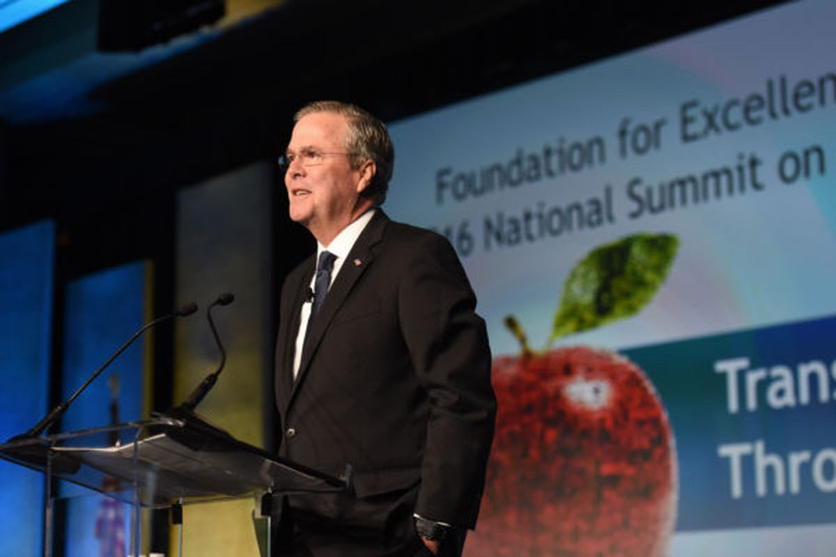 Former Florida Gov. Jeb Bush speaks during the 2016 National Summit on Education Reform in Washington D.C. Bush opens this year's two-day summit on Thursday in Nashville, Tennessee.