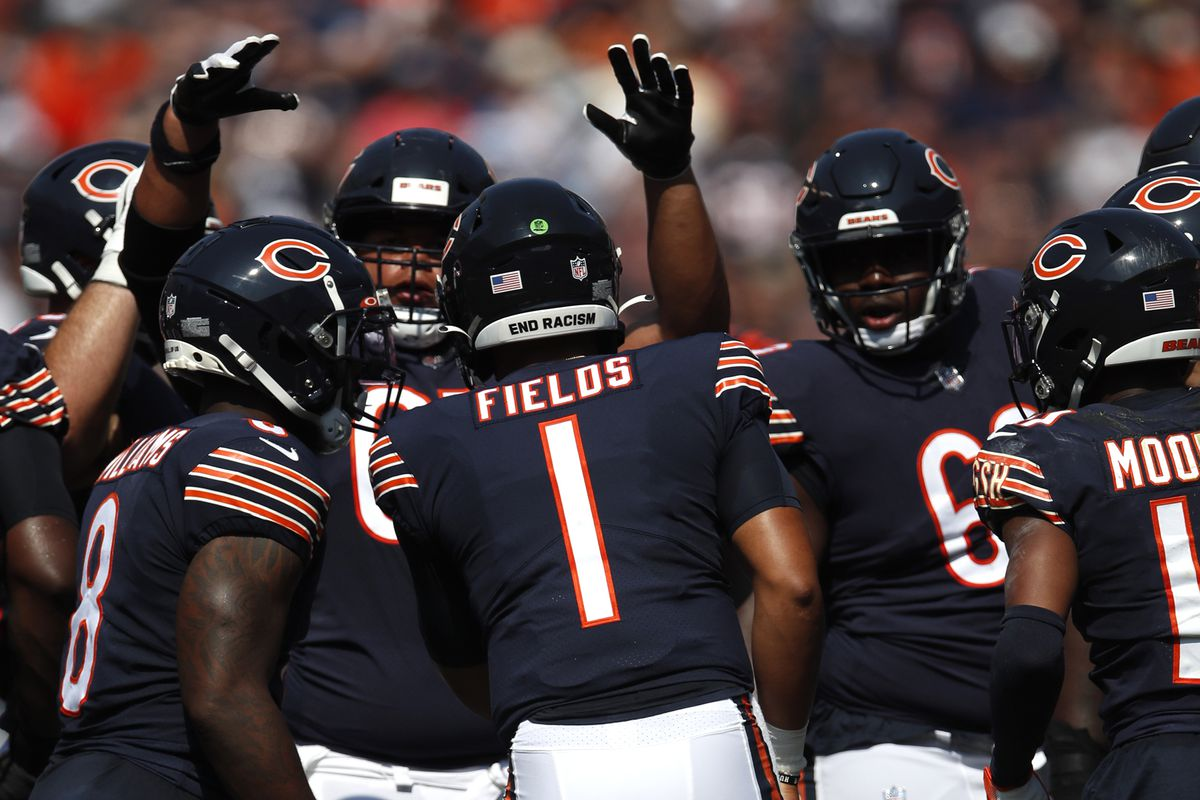 Bears rookie quarterback Justin Fields (1) completed 6-of-13 passes for 60 yards, no touchdowns and one interception for a 27.7 passer rating in relief of Andy Dalton against the Bengals on Sunday. The Bears won, 20-17.