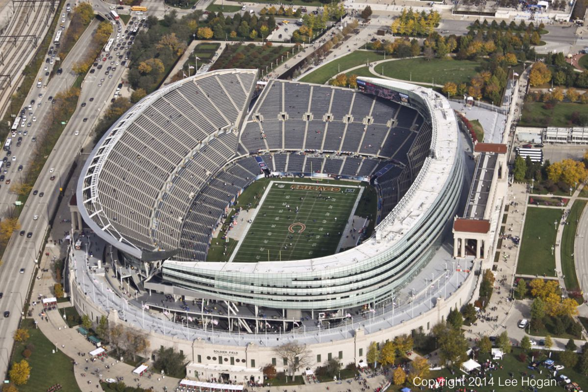Aerial view of Soldier Field Sunday, Oct.19, 2014.