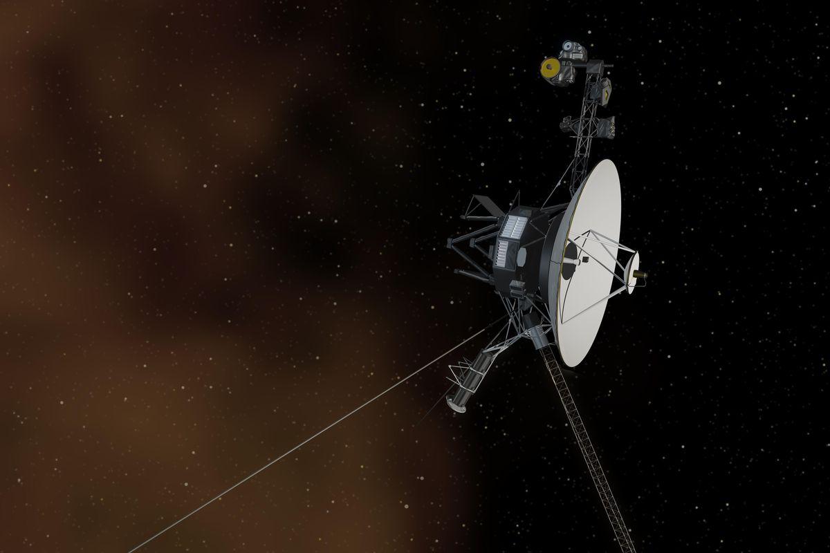 An artist's rendering of Voyager 1 entering interstellar space.