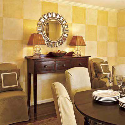Checkered yellow wall.