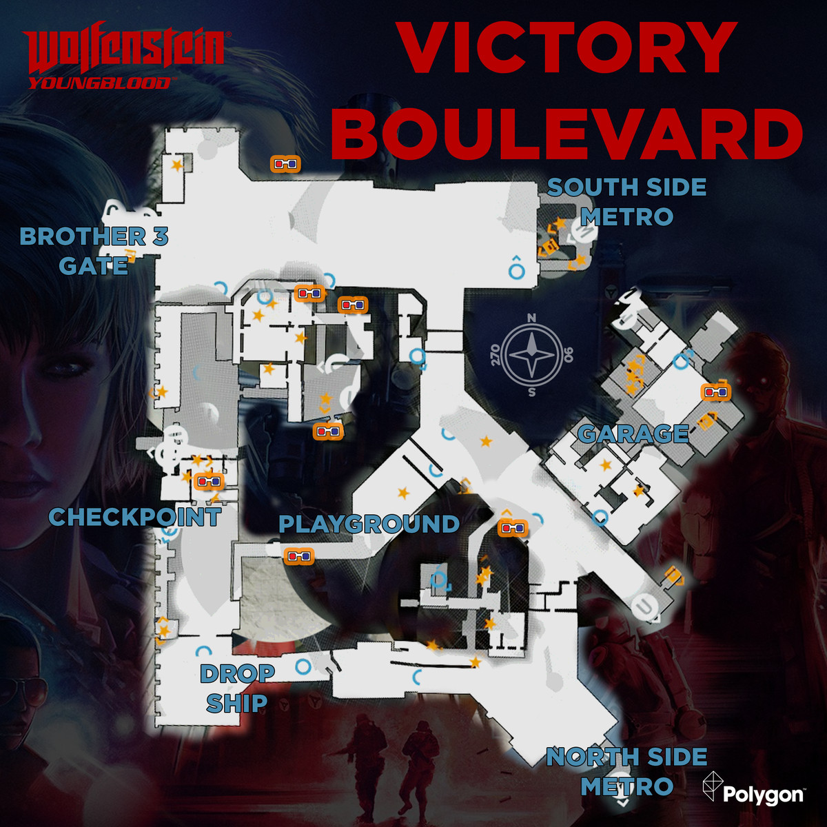 Wolfenstein: Youngblood Victory Boulevard map with 3D Glasses icons