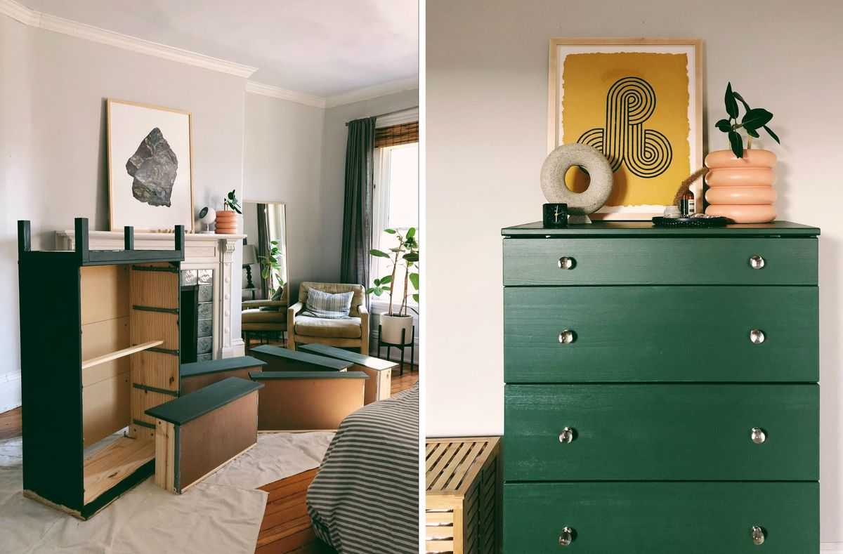 A photo collage showing a disassembled dresser on the left and the assembled dresser on the right.