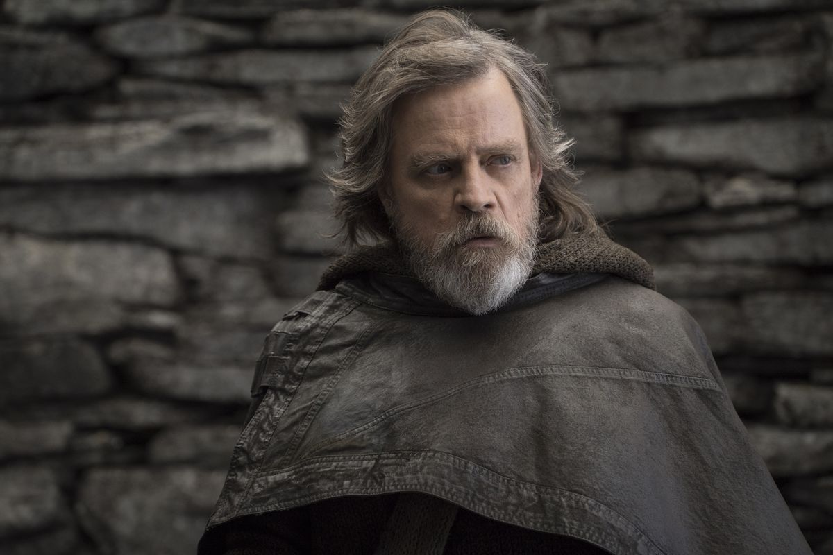 """This file image released by Lucasfilm shows Mark Hamill as Luke Skywalker in """"Star Wars: The Last Jedi."""" After two consecutive record-breaking years at the domestic box office, 2017 was the year the momentum slowed, even with the late adrenaline boost of"""