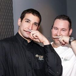 Chef Michael Ellis and his waiter friend got matching mustache tattoos today for the opening.