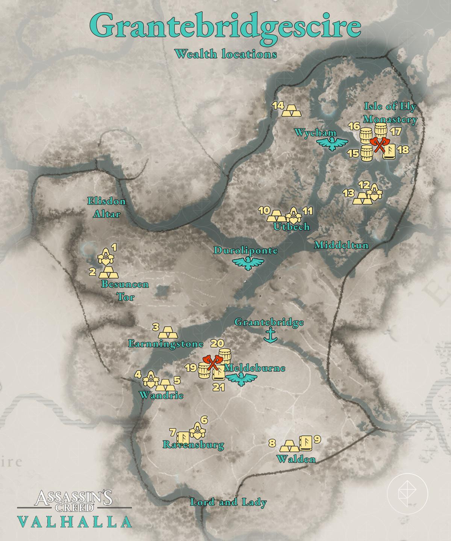 Grantebridgescire Wealth locations map