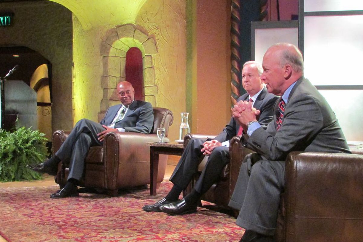 Kevin Chavous (left) leads a panel discussion with former Indianapolis Mayor Bart Peterson (center) and former Gov. Mitch Daniels.