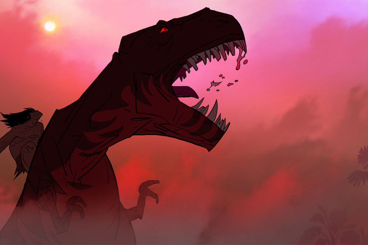 the caveman from primal rides a t-rex with blood dripping from its teeth