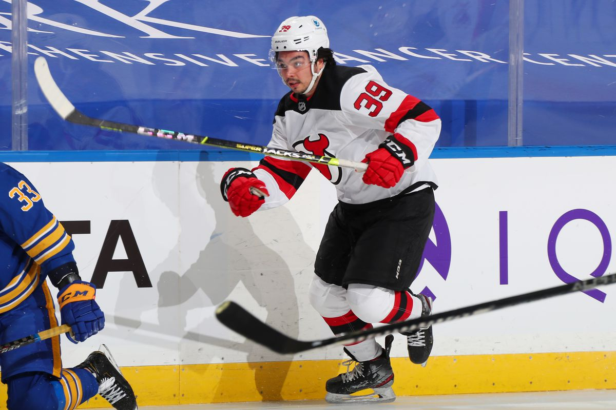 Nick Merkley #39 of the New Jersey Devils skates against the Buffalo Sabres during an NHL game on January 30, 2021 at KeyBank Center in Buffalo, New York.
