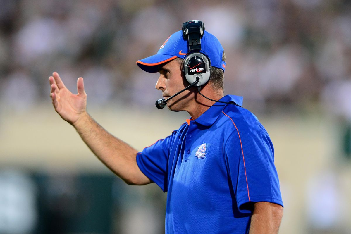 Aug 31, 2012; East Lansing, MI, USA; Boise State Broncos head coach Chris Petersen on the sidelines in the first quarter against the Michigan State Spartans at Spartan Stadium. Mandatory Credit: Andrew Weber-US Presswire
