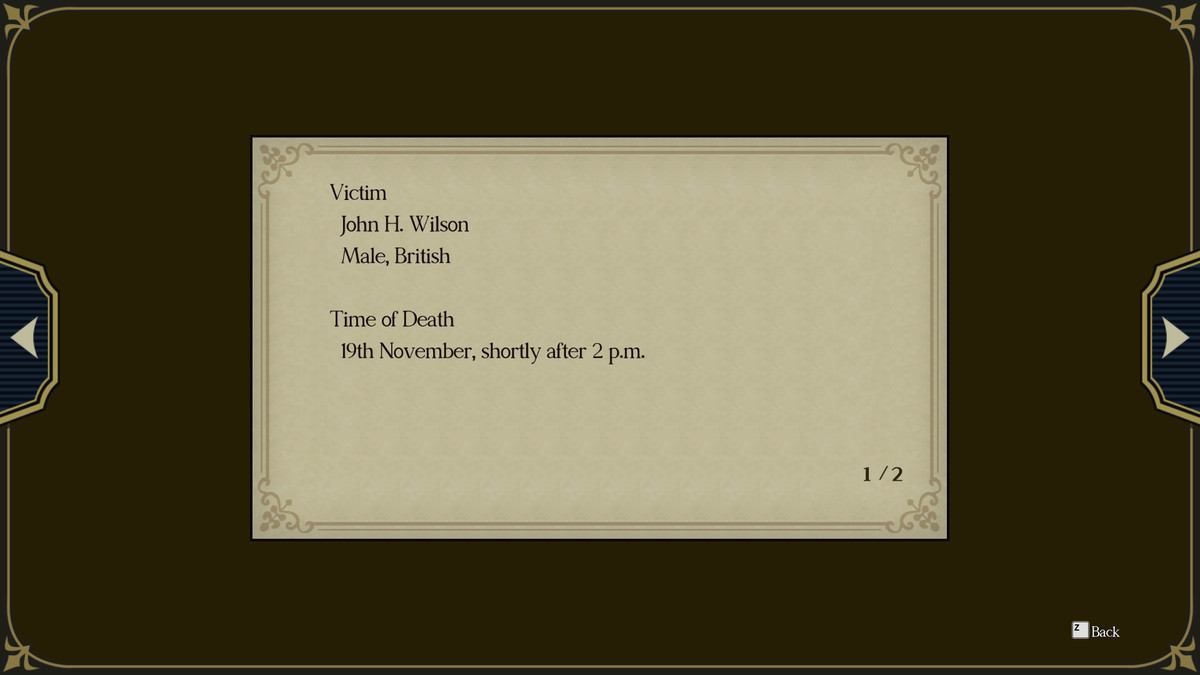An autopsy note from The Great Ace Attorney