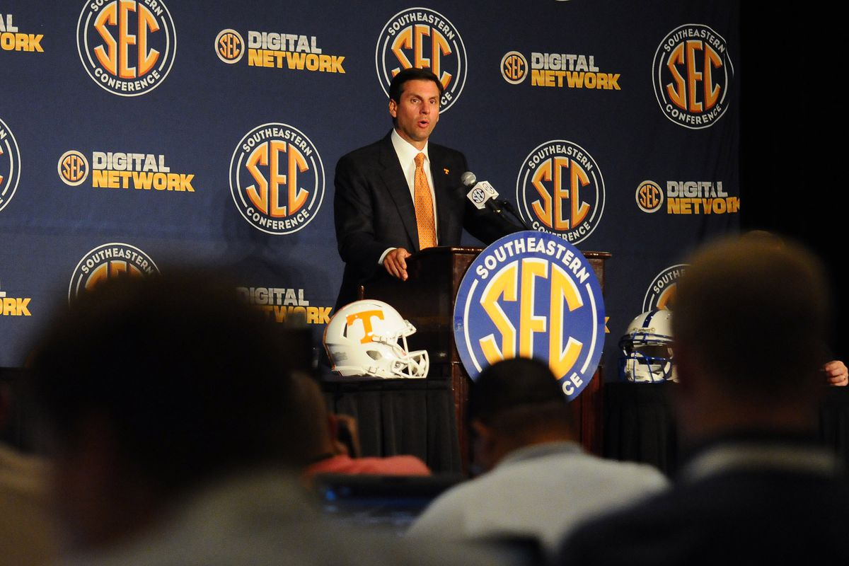 July 19, 2012; Hoover, AL, USA; Tennessee Volunteers coach Derek Dooley answers questions during the 2012 SEC media days press conference at the Wynfrey Hotel. Mandatory Credit: Kelly Lambert-US PRESSWIRE