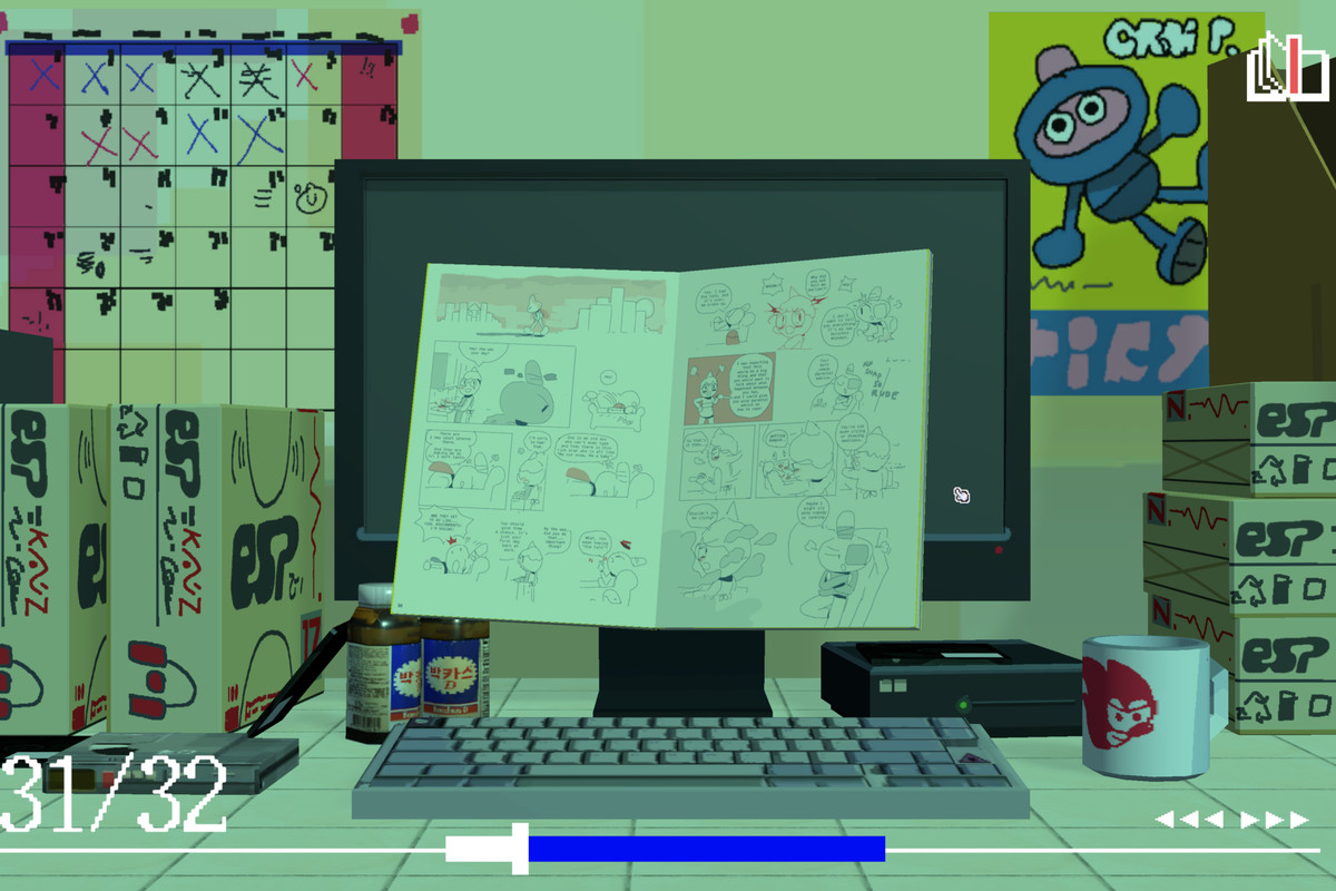 A comic book held in front of a computer desk/cubical office scene