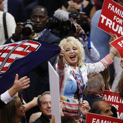 Delegates dance during the final night of the National Republican Convention in Cleveland on Thursday, July 21, 2016.
