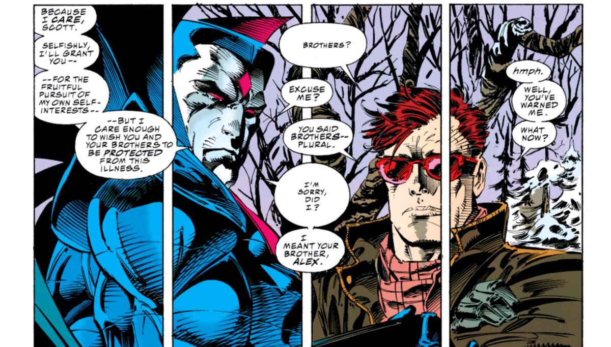 Mister Sinister lets slip that there may be a third Summers brother, in X-Men #23, Marvel Comics (1993).