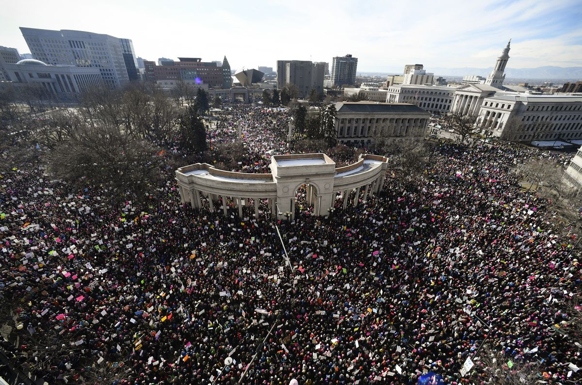 Tens of thousands gather in Civic Center Park for the Women's March in Denver, Co.