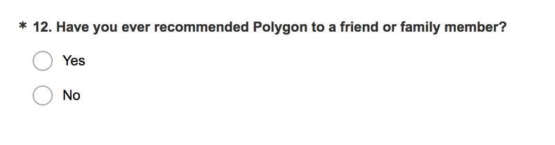 Sample of a survey question from a Polygon.com survey