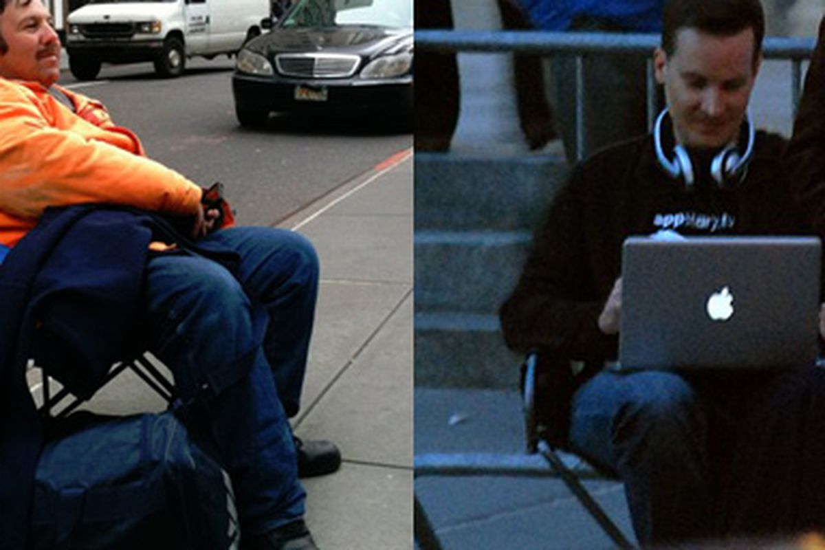 """Who's first? Is it Greg at left (image via <a href=""""http://www.engadget.com/2010/04/01/first-nyc-ipad-line-sitter-also-camped-for-first-iphone-a-legen/"""">Engadget</a>), or German dude at right?"""