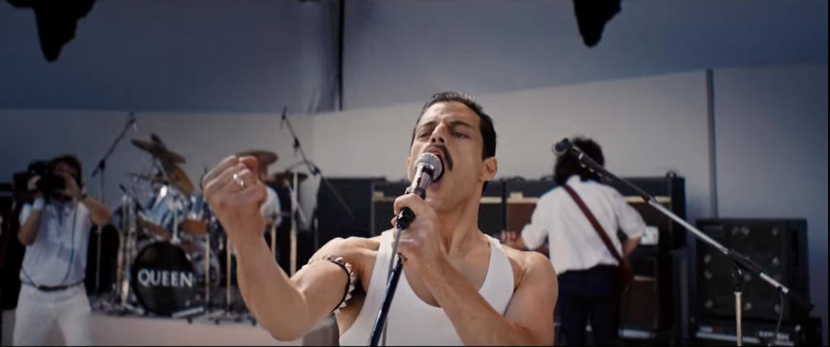 Rami Malek as Freddie Mercury with a mustache