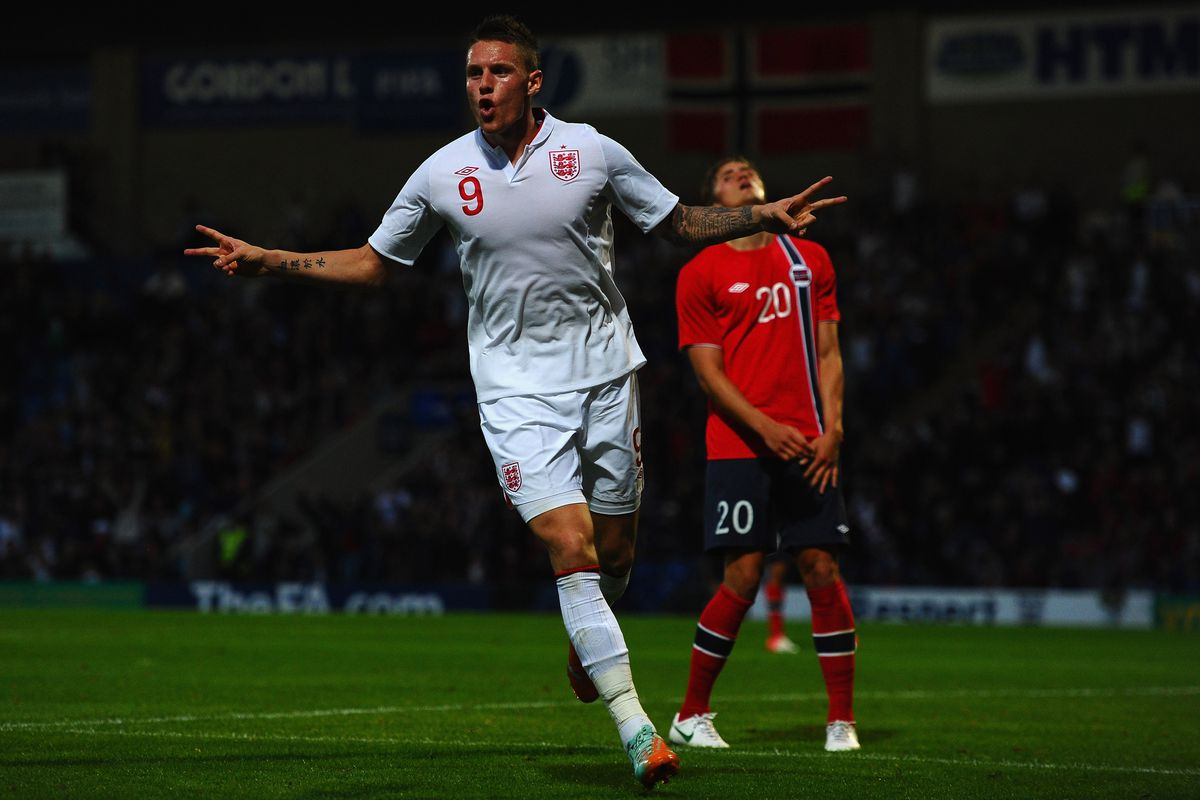 Connor Wickham celebrates his goal against Norway on Monday night.