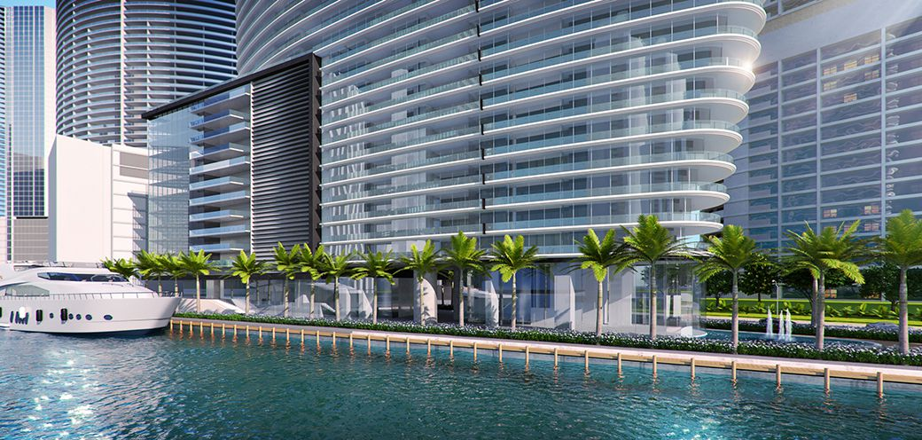 Aston Martin Residences showing the lobby portion on the water