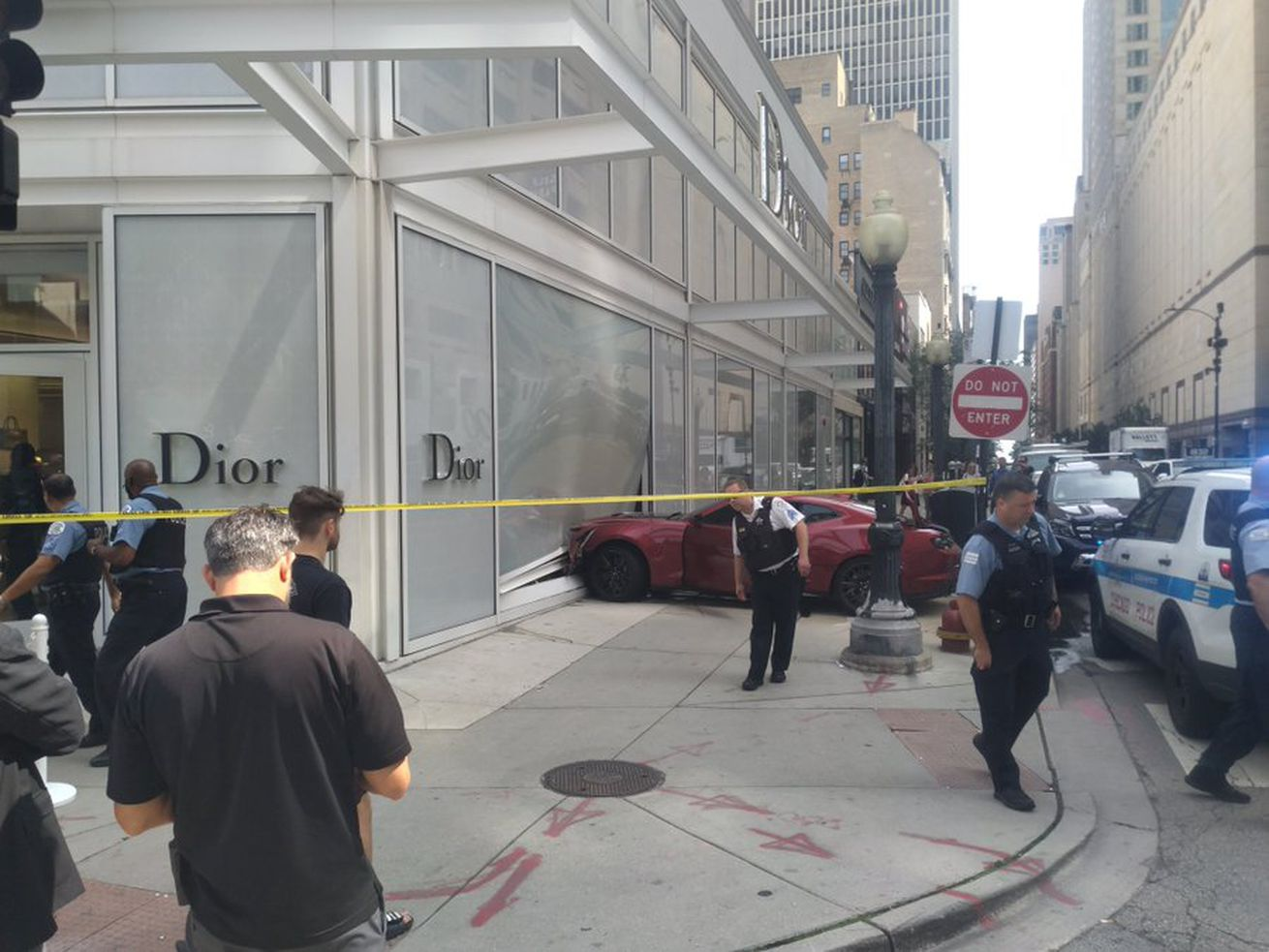 A driver crashed into a Dior store on Rush Street on Friday.