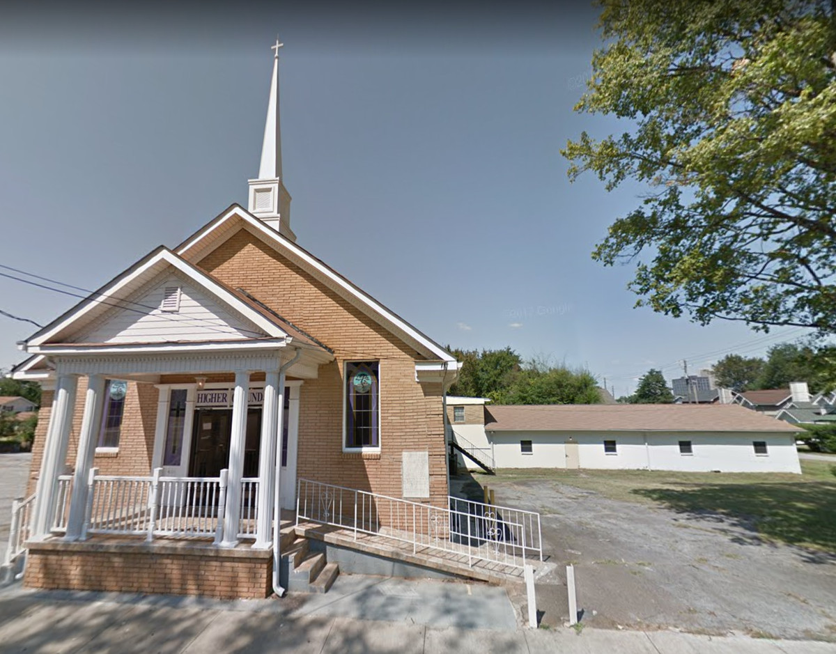 A screenshot of Google Maps' street view of the Vine City church across the street from the development.