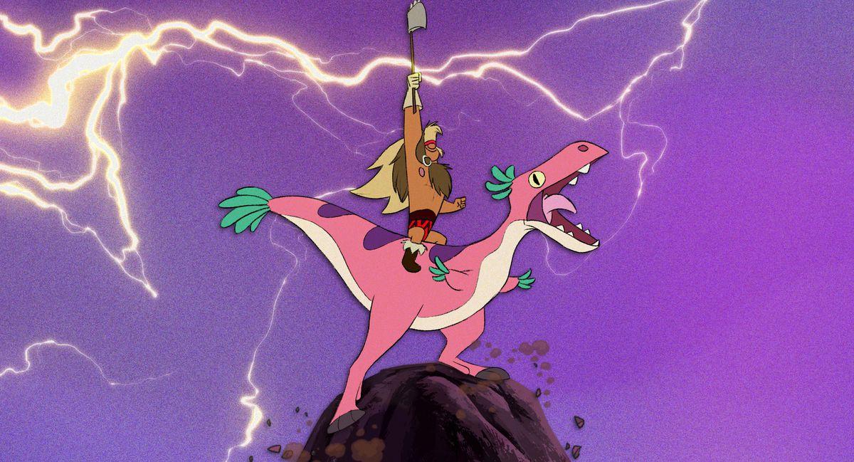 a caveman riding a dinosaur