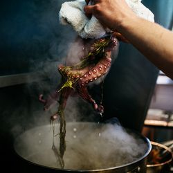 The octopus is blanched in bouillon until the legs curl and the skin turns a vibrant red.