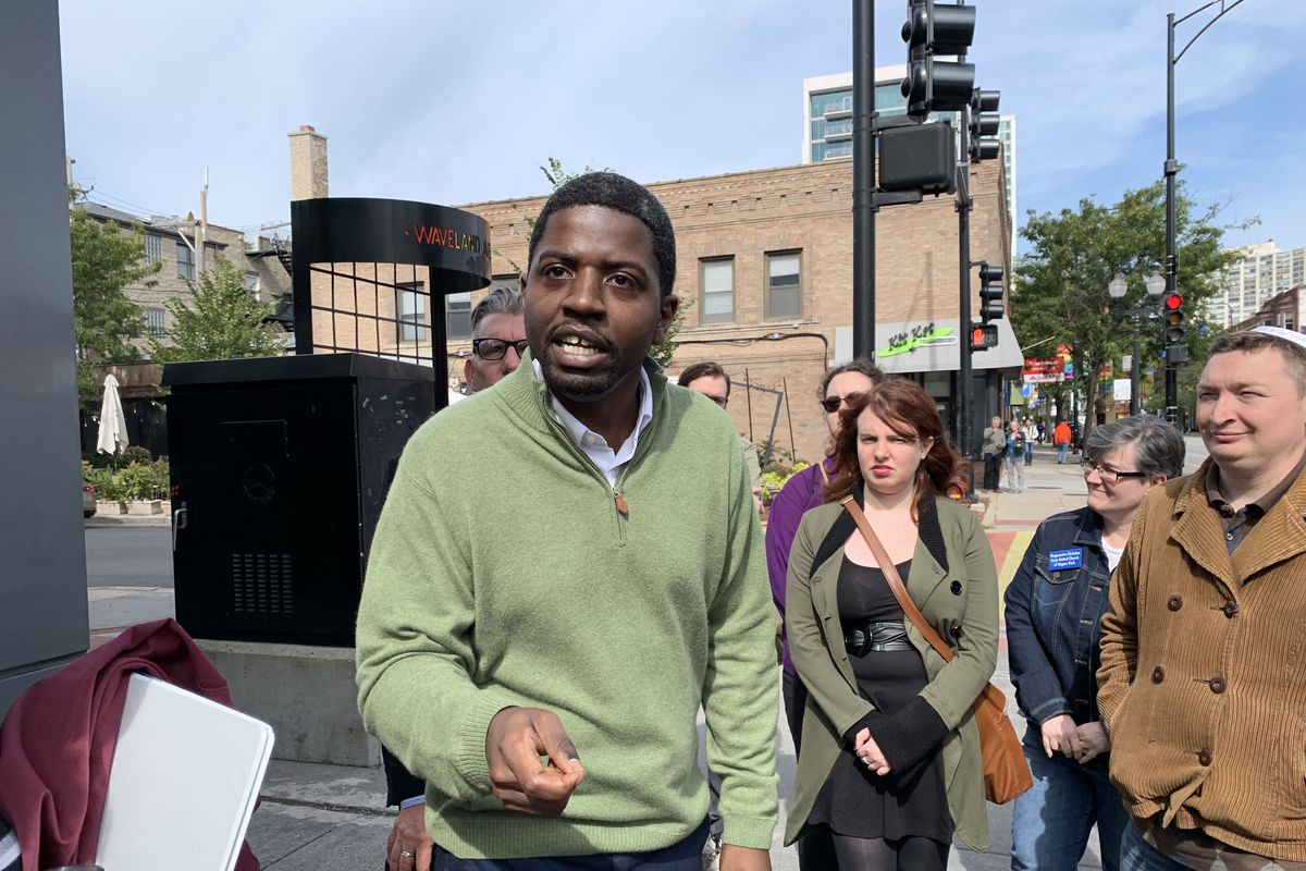 The Rev. Jamie Frazier, lead pastor of the Lighthouse Church of Chicago and founder of the Lighthouse Foundation, outside the Center on Halsted in September.