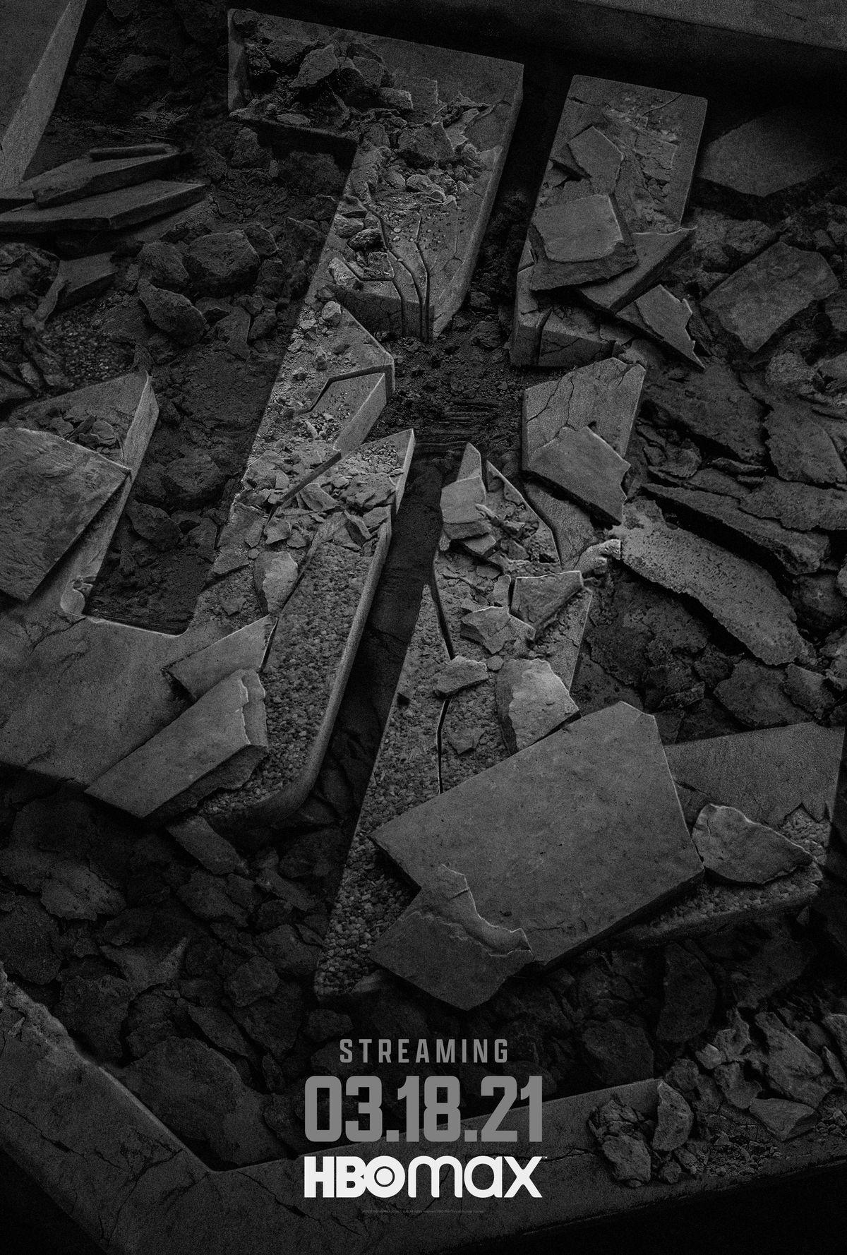 Justice League Snyder Cut rubble logo poster