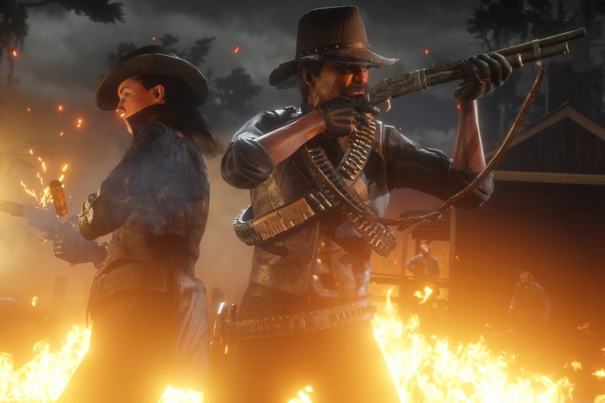 Two Red Dead Online players fire their weapons, back-to-back.