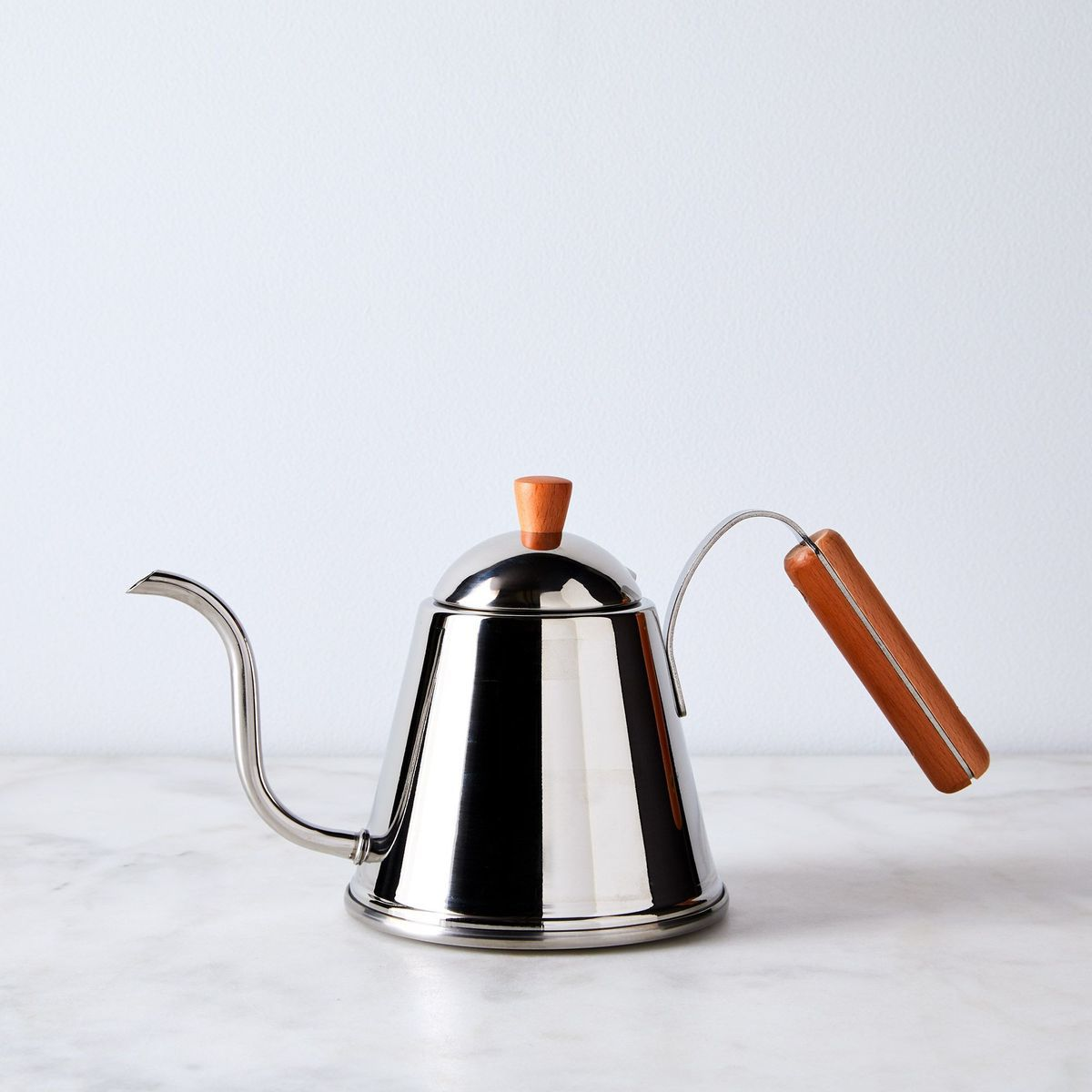 A stainless steel Japanese coffee kettle