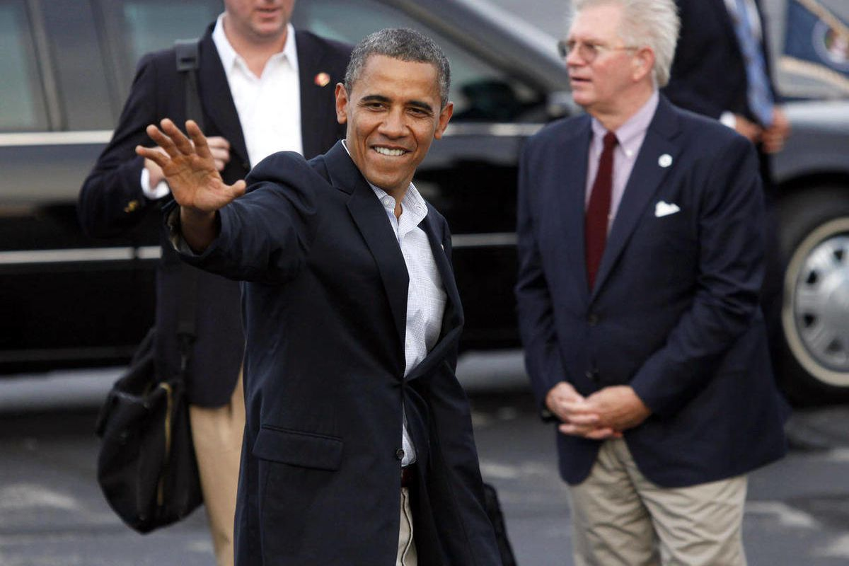 President Obama heads to his car after arriving at Toledo Express Airport in Swanton, Ohio, Sunday, Sept. 2, 2012.