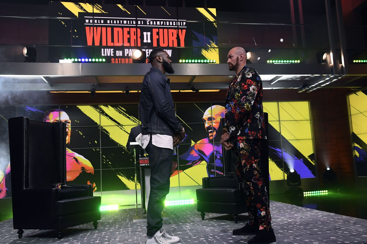 Deontay Wilder and Tyson Fury face off during a news conference at Fox Studios on January 25, 2020 in Los Angeles, California.