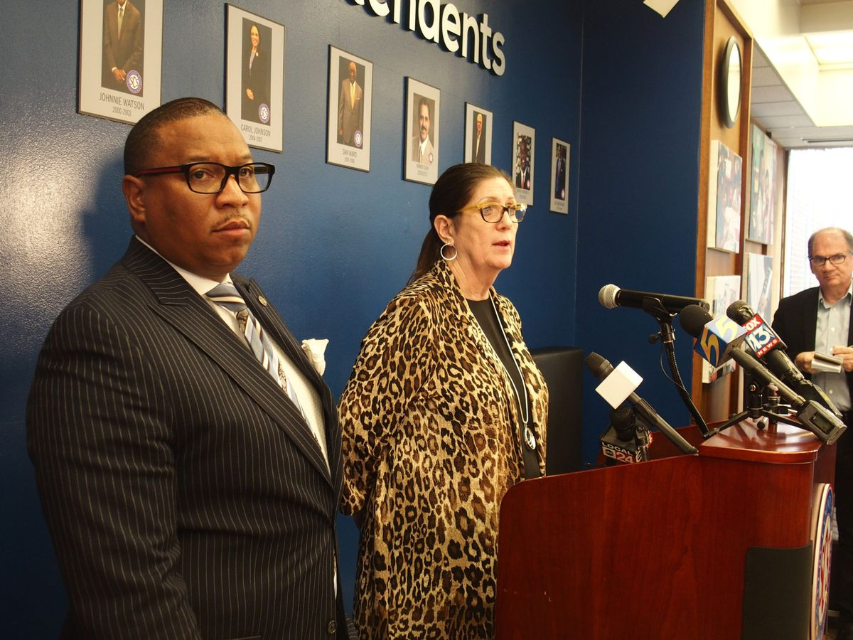 Superintendent Joris Ray, left, and Shelby County Health Department Director Alisa Haushalter speak with reporters about a quarantined Shelby County Schools employee who came in contact with the area's first confirmed COVID-19 patient.