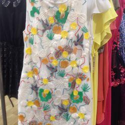 Floral appliqué dress (sample), $119