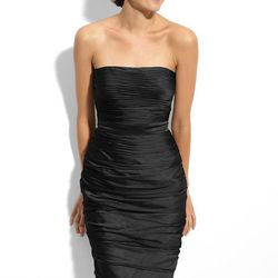 """She'll look smokin' hot in this curve-hugging LBD.  (ML Monique Lhuillier <a href=""""http://shop.nordstrom.com/S/ml-monique-lhuillier-bridesmaids-ruched-strapless-cationic-chiffon-dress-nordstrom-exclusive/3123739?origin=category-personalizedsort&contextual"""