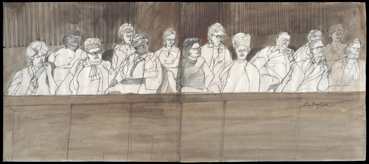 Jurors sketch Chicago Seven
