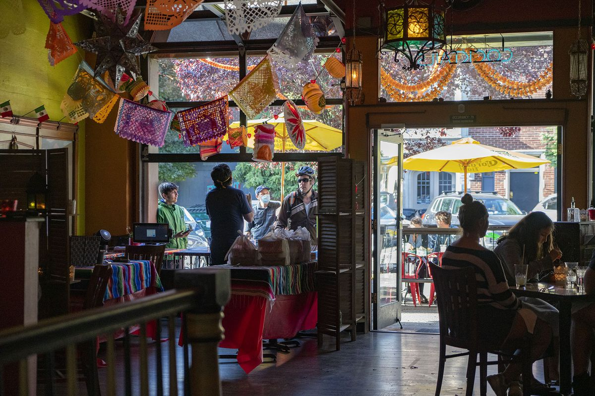 The dining room at El Camino in Seattle's Fremont neighborhood, with a handful of diners